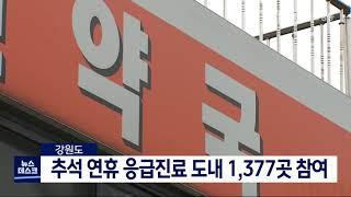 추석 연휴 응급진료 도내 1,377곳 참여