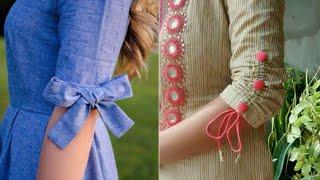 cotton kurta sleeves design ideas/beautiful bow sleeves design/new style sleeves for suit