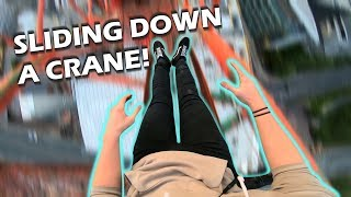 SLIDING DOWN A CRANE! *ABOVE POLICE* (One handed dangle)