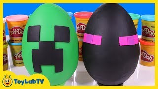 Giant Minecraft Creeper & Enderman Play Doh Surprise Eggs with Minecraft Hangers & Netherrack Toys