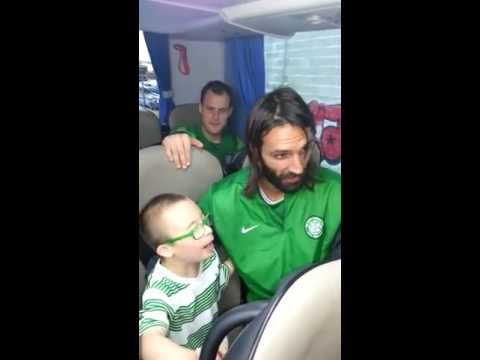 Jay Beatty on bus with Glasgow Celtic FC singing HAIL HAIL