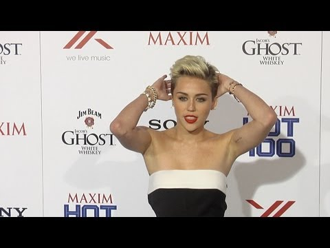 Miley Cyrus 2013 MAXIM HOT 100 Party Arrivals and Interviews in Sexy Jumpsuit