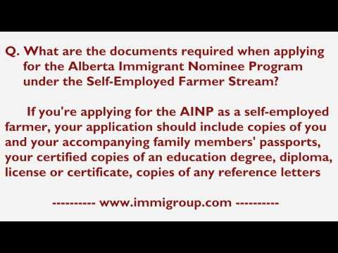 What are the documents required when applying for the AINP under the Self-Employed Farmer Stream?