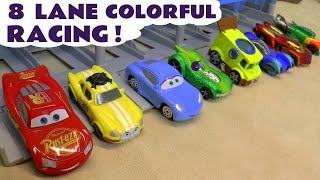 Hot Wheels Cars 3 Learn Colors Race with Pixar McQueen Ace and Marvel Avengers 4 Superheroes