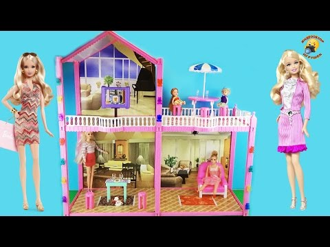 Домик для кукол Барби и других. Двухэтажный с мебелью / Doll house with furniture, Barbie