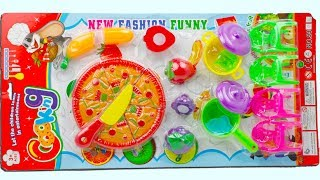Unpacking Beautiful Cooking Set with Toy Pizza for Kids