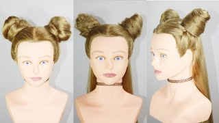 3 Types Of Space Bun titorial   Baby hair style   Hair style girl   Girl Hairstyle