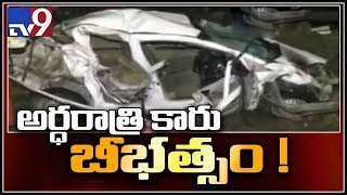Car rams into Lorry at Krishna Lanka highway || Vijayawada