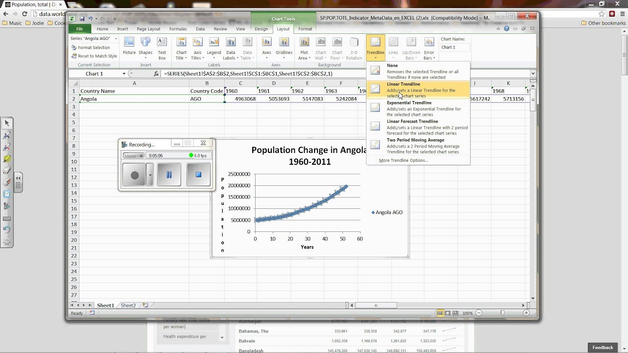 how to add exponential line in excel