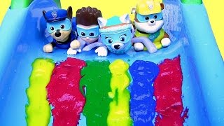 Paw Patrol Bathtime Paint Slide Underwater Swimming Pool Party LEARN COLORS Bath Paint Disney