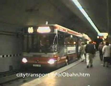 Kerb guided trolleybus & tram at Essen's Berliner Platz stn (2)