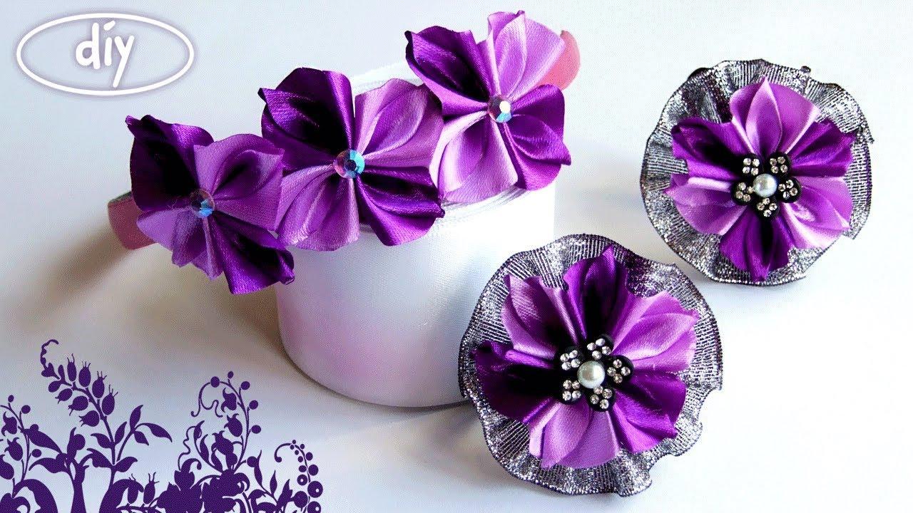 Квіти из лент своими руками 46