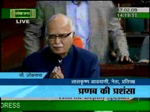 L K Advani praises Pranab Mukherjee