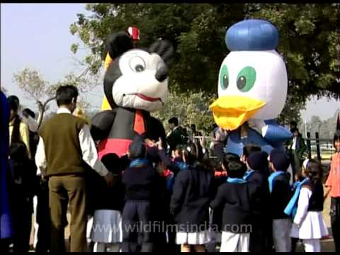 Mickey Mouse & Donald Duck visiting kids at the kite festival, Delhi