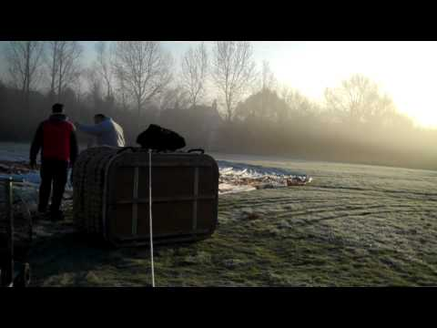 Setting up a hot air balloon