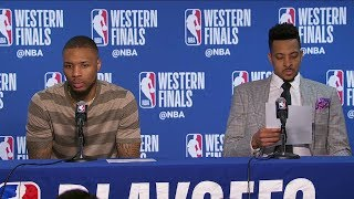 Damian Lillard & CJ McCollum Postgame Interview - Game 2 | Blazers vs Warriors | 2019 NBA Playoffs