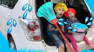 Kids prepare a surprise for daddy/ CAR WASH with JoyJoy  Lika