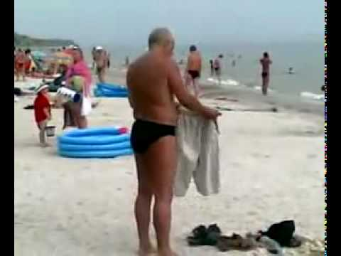 Drunk russian on the beach