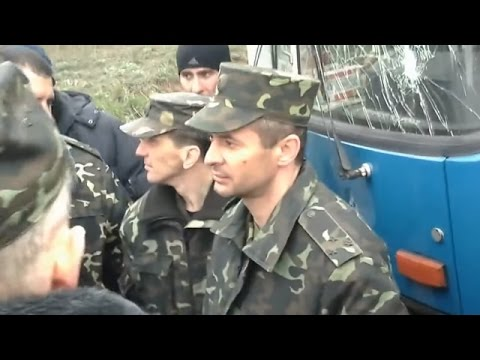 The Ukrainian National Guards' Convoy Stopped By Russian Terrorists In Artemovsk, April 12 2014