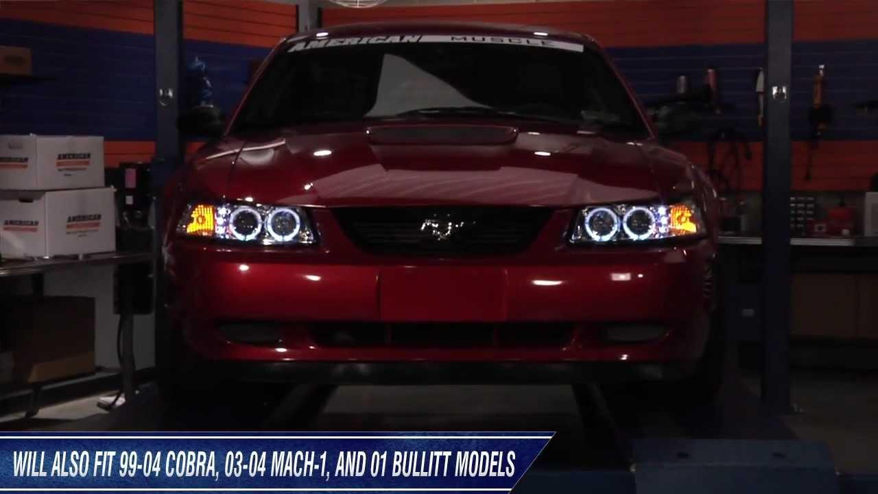 Mustang Raxiom Chrome Projector Headlights - Dual CCFL ...
