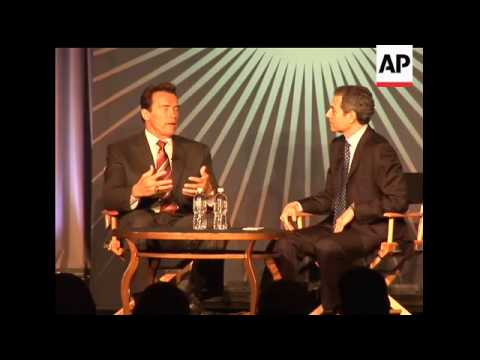 California Governor Arnold Schwarzenegger talks about the state's growing budget crisis and his requ