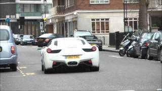 Ferrari 458 Italia accelerate and downshift in London.