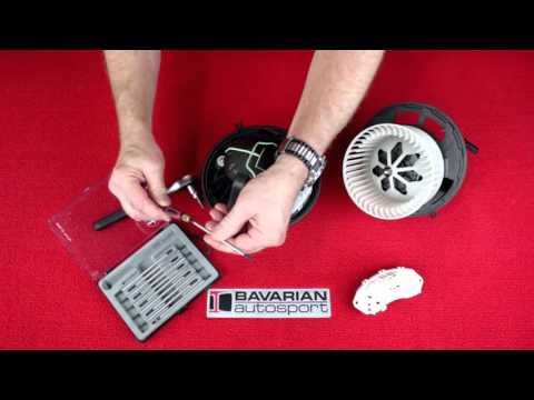 Replacing a blower motor and final stage unit on a BMW 3 series 06 thru 11 (E90) and other models