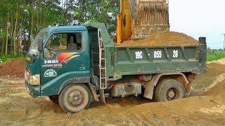 Bé xem máy xúc múc cát lên xe ô tô tải nhỏ | Nhạc thiếu nhi : Chú ếch con | Tientube TV