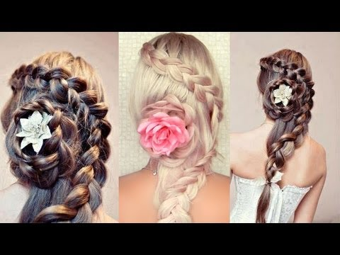 Braided holiday hairstyle for long hair Braided flower tutorial for Christmas and New Year's eve
