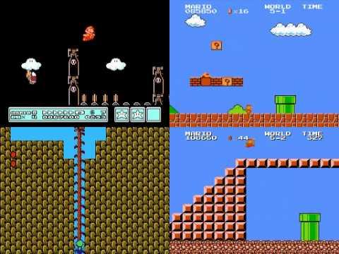 Terminando 4 distintos videojuegos de Super Mario al mismo tiempo