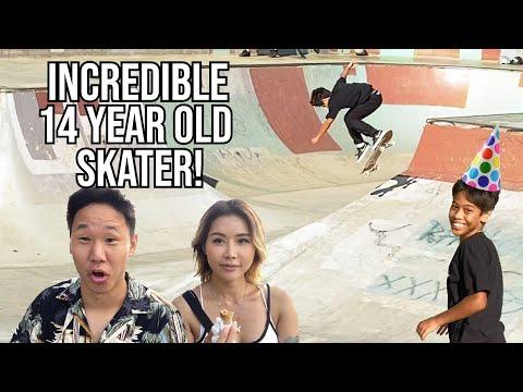 INCREDIBLE 14 YEAR OLD SKATER!! - Skating Hawaii Kai Skatepark With Nana And Cyprus
