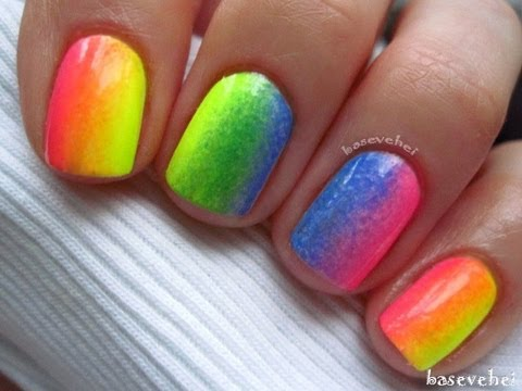 Rainbow Ombre Nails Rainbow Neon Ombre Neonowa