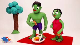 Bad Baby Hulk vs Frozen Elsa Baby - Supheroes in Real Life Play Doh Stop Motion Movies Ep 806