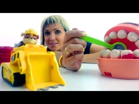 Видео для детей. Игрушки щенячий патруль и Зубастик