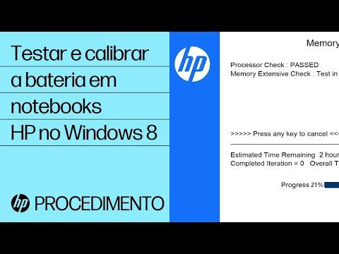 Testar e calibrar a bateria em notebooks HP no Windows 8