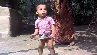 Bd cute kid first walking