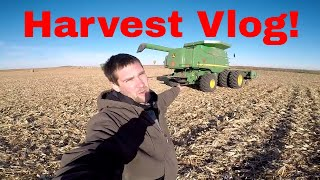 Full Day Harvest Vlog! Stuck Truck, Corn, Soybeans, Test Plot