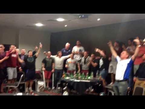 Scotland Rugby League celebrating Tonga winning - Scotland making the RLWC 2013 QF's.