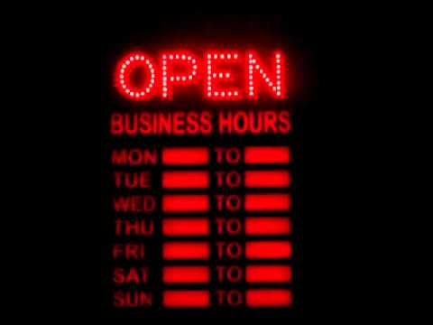 Led open closed sign with business hours youtube for V bathroom opening hours