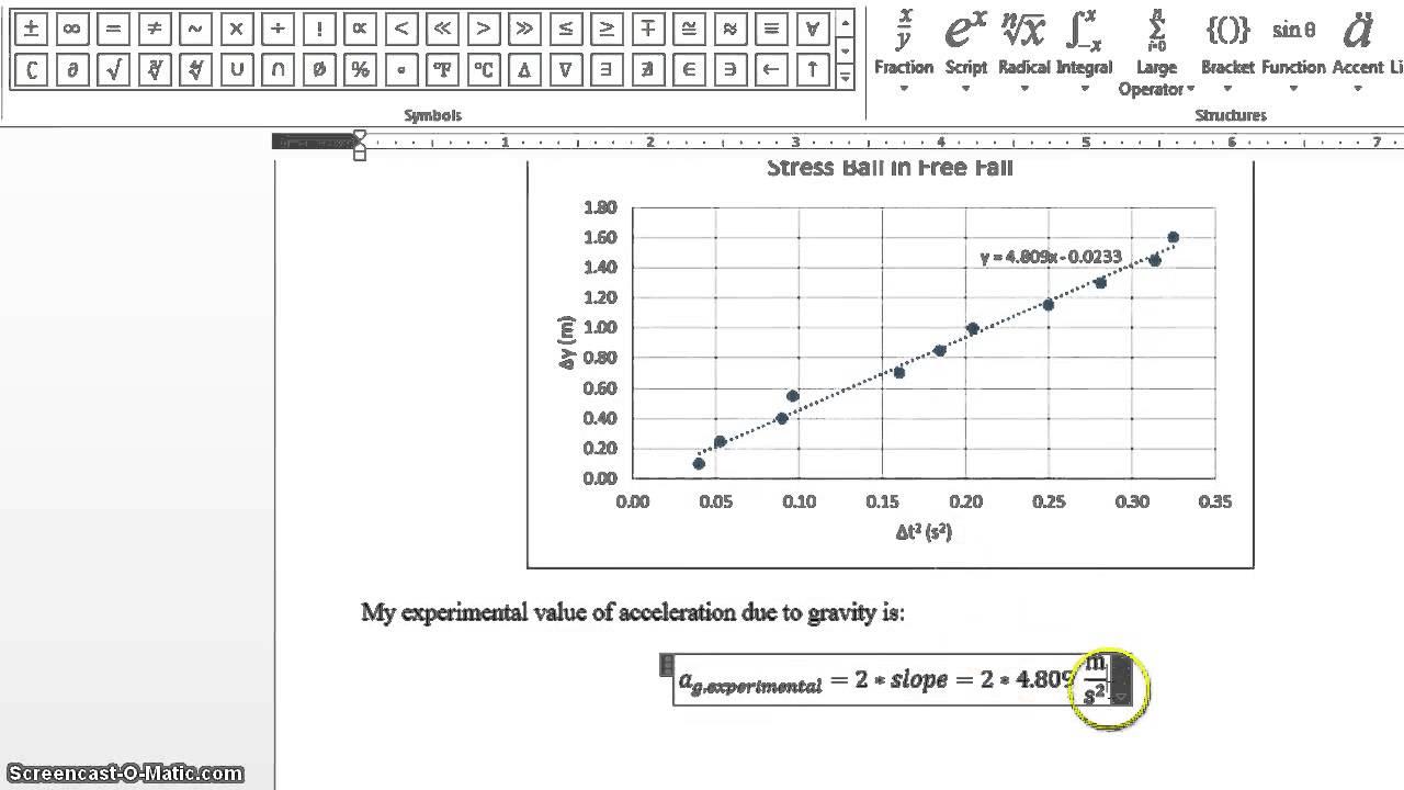 Experiment Data Analysis Free Fall Experiment Data