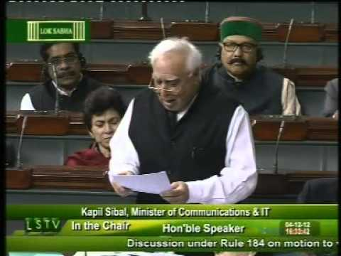 Kapil Sibal speaking in Lok Sabha on FDI in Multi Brand Retail : Dec 4, 2012