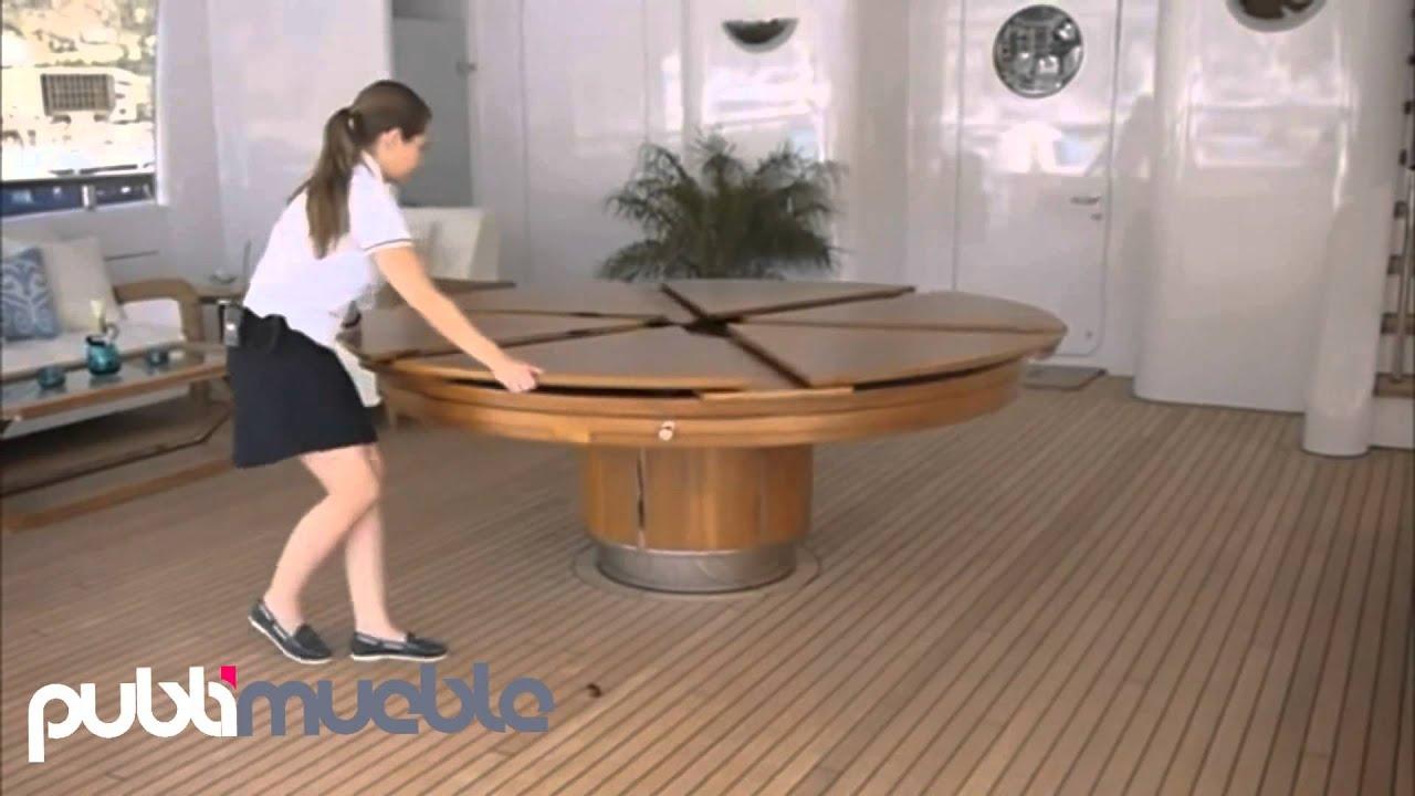 Mesa de comedor extensible giratoria youtube for Mesa comedor redonda extensible madera