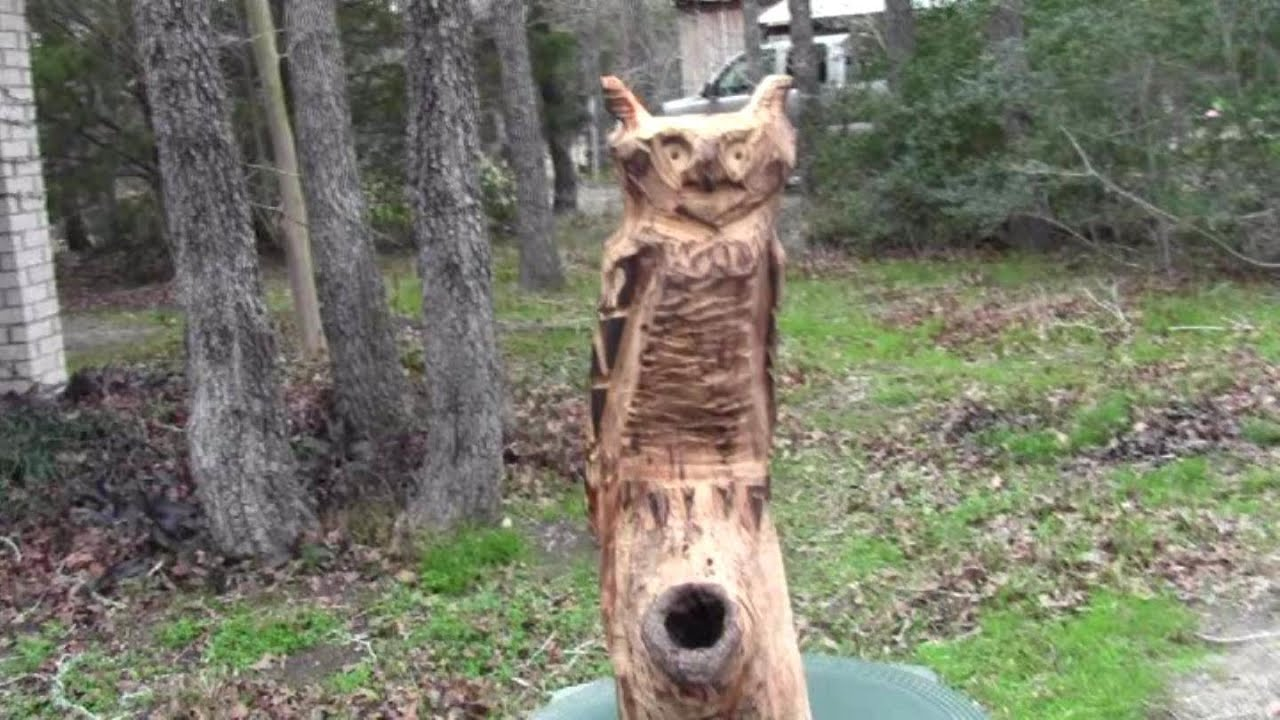 Chain saw carving wooden owl youtube