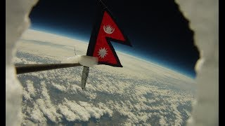 Nepal's Flag and National Anthem on the edge of the space