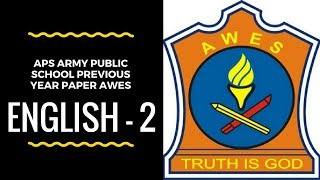 APS AWES Army Public School Previous Year Paper PART-A ENGLISH -2