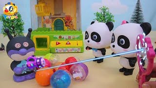 Baby Panda Fights against Gashapon Bad Guy | Kids Toys Story | Baby Panda's Claw Machine | ToyBus