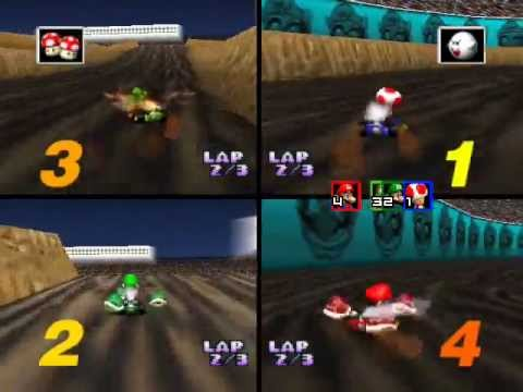 Mario Kart 64 Netplay: Wario Stadium 4 player race