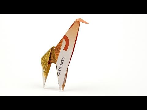 Geldscheine falten GIRAFFE, Tiere aus Geld falten, ANLEITUNG in 4K