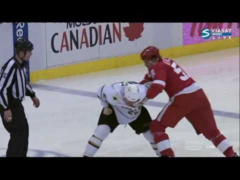 Fight Steve Ott VS Jonathan Ericsson (Stars & Red Wings) NHL 02/24/11