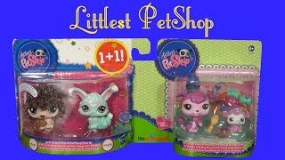 LITTLEST PET SHOP Cutest Pets Porcupine Angora Bunny Mommy and Baby Poodle